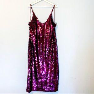 Free People   Paillette Party Midi Sequin Dress M